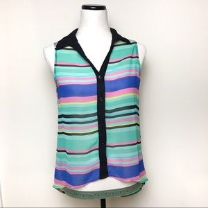 Colorful striped high low tank top